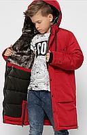 Куртка довга зимова на хлопчика підлітка, на зростання 110-134