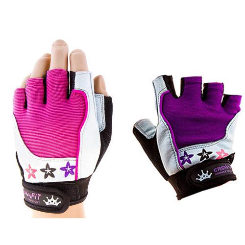 Перчатки для велосипедистов и фитнеса CrownFit, цвета розовый, фиолетовый