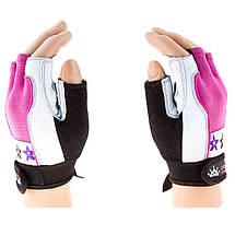 Перчатки для велосипедистов и фитнеса CrownFit, цвета розовый, фиолетовый, фото 2