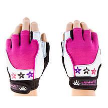Перчатки для велосипедистов и фитнеса CrownFit, цвета розовый, фиолетовый, фото 3