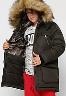 Куртка зимова з хутряною обробкою на хлопчика на ріст 110-158