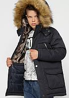 Зимова куртка з хутряним оздобленням на хлопчика на ріст 110-158