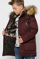 Зимова куртка з хутряною опушкою на хлопчика на ріст 110-158