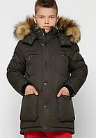 Куртка зимова з хутряною опушкою на хлопчика на ріст 110-158