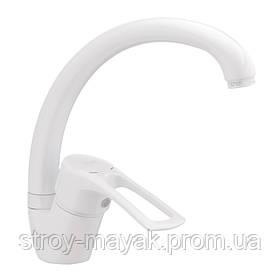 Смеситель для кухни белый высокий излив однорычажный латунь Haiba Hansberg 777 White