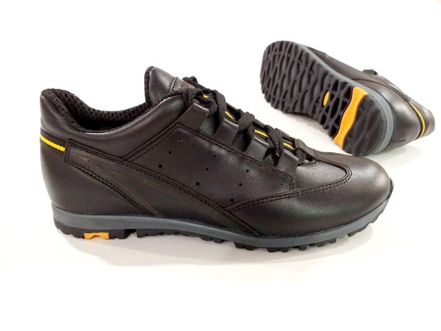 Кожаные туфли для мальчика на спортивной подошве черные 752122