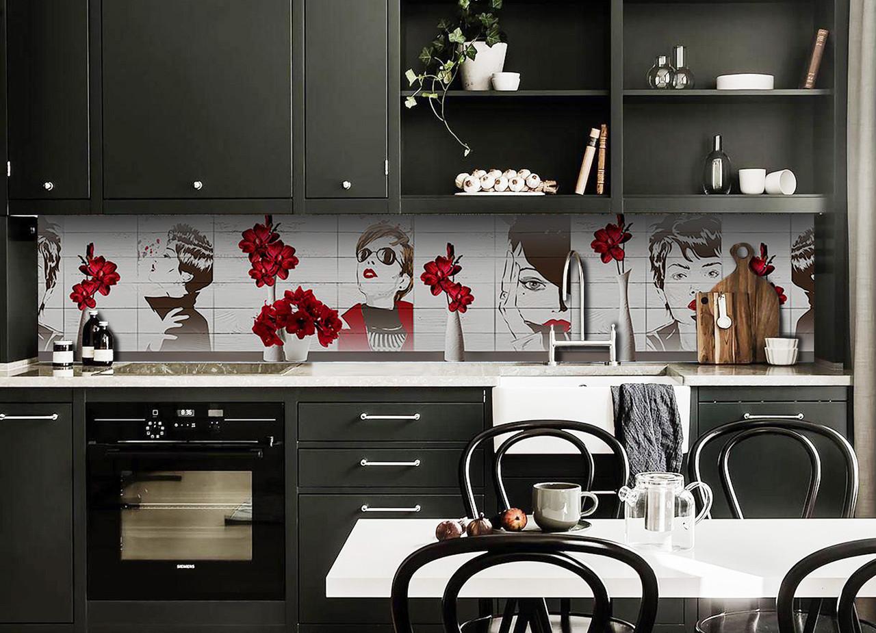 Виниловый кухонный фартук Девушка (декоративная пленка наклейка скинали ПВХ) Красные цветы в вазе Серый 600*2500 мм
