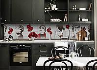 Виниловый кухонный фартук Девушка декоративная пленка наклейка скинали ПВХ Красные цветы в вазе Серый 600*2500
