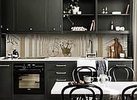 Виниловый кухонный фартук Цветочный Велосипед (декоративная пленка наклейка скинали ПВХ) ретро колонны Бежевый 600*2500 мм, фото 1