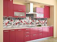 Виниловый кухонный фартук Иллюзия декоративная пленка наклейка ПВХ 3д доски красные цветы Прованс Серый