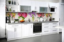 Вініловий кухонний фартух Яскраві Квіти декоративна плівка наклейка скіналі ПВХ букети Рожевий 600*2500 мм