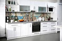 Виниловый кухонный фартук Пристань декоративная пленка наклейка скинали ПВХ Море колонны Бежевый 600*2500 мм