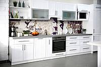Виниловый кухонный фартук Мода декоративная пленка скинали ПВХ фэшн силуэты надписи Абстракция Бежевый
