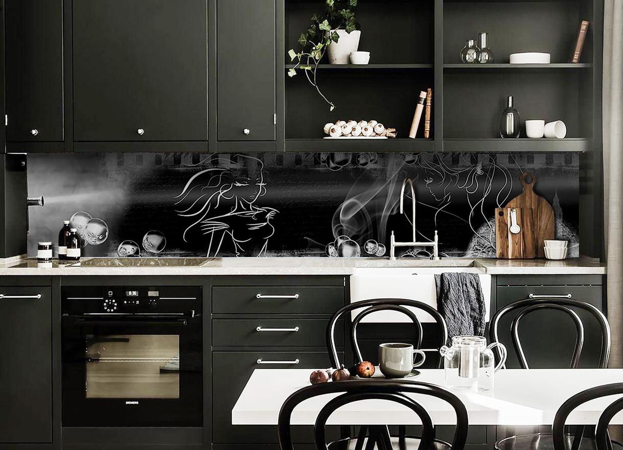 Виниловый кухонный фартук Силуэт Девушки (декоративная пленка наклейка скинали ПВХ) на черном фоне 600*2500 мм