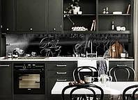 Виниловый кухонный фартук Силуэт Девушки (декоративная пленка наклейка скинали ПВХ) на черном фоне 600*2500 мм, фото 1
