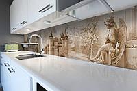 Виниловый кухонный фартук Винтажный замок (декоративная пленка наклейка скинали ПВХ) ангел Бежевый 600*2500 мм, фото 1