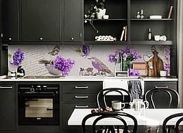 Виниловый кухонный фартук Фиолетовая Птица декоративная пленка наклейка скинали ПВХ цветы бабочки букеты
