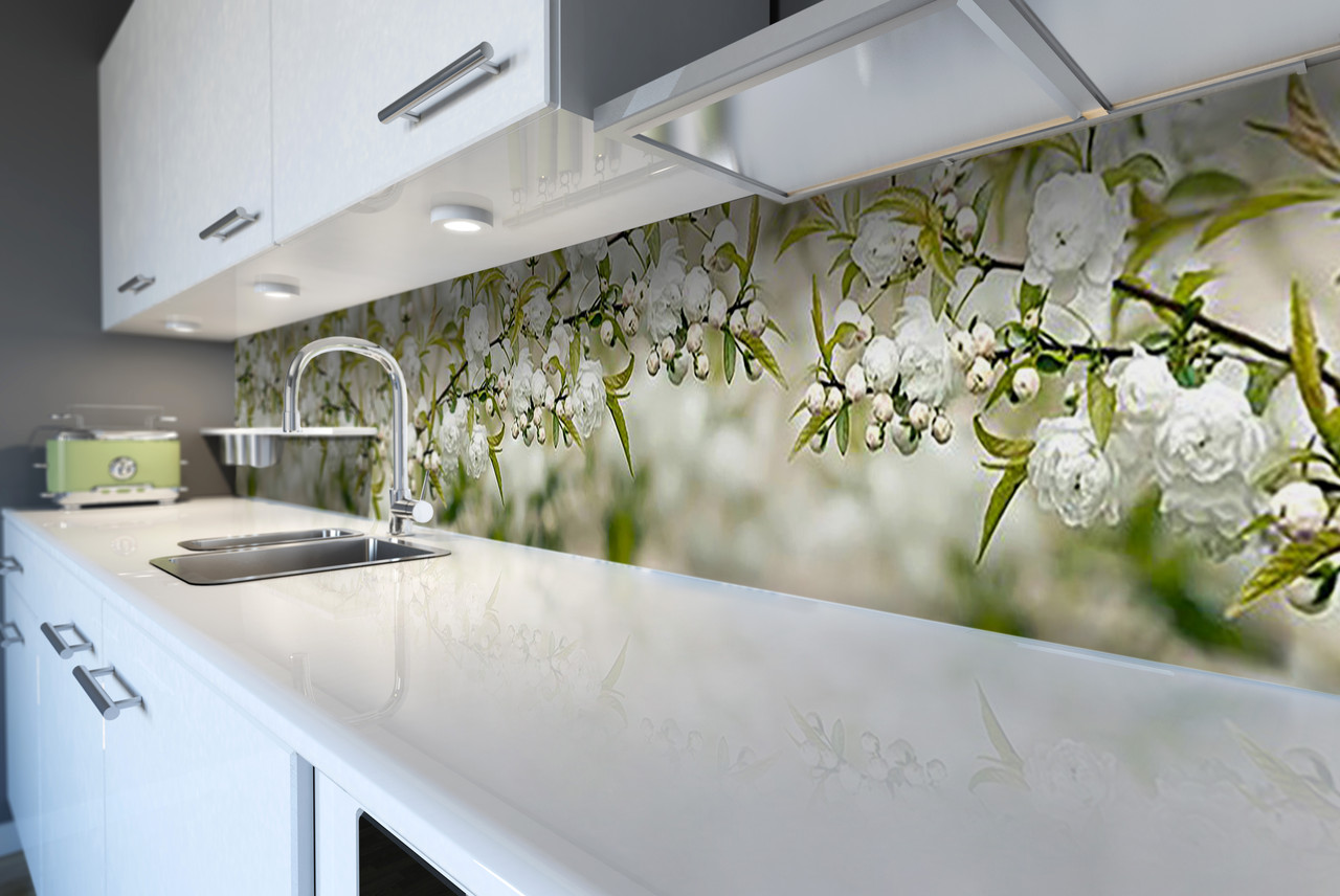 Виниловый кухонный фартук Белая Сакура (декоративная пленка наклейка скинали ПВХ) цветущие ветки вишни Зеленый 600*2500 мм