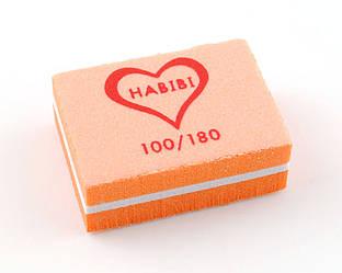 Баф маленький брусок Habibi (100/180 грит), оранжевый цвет