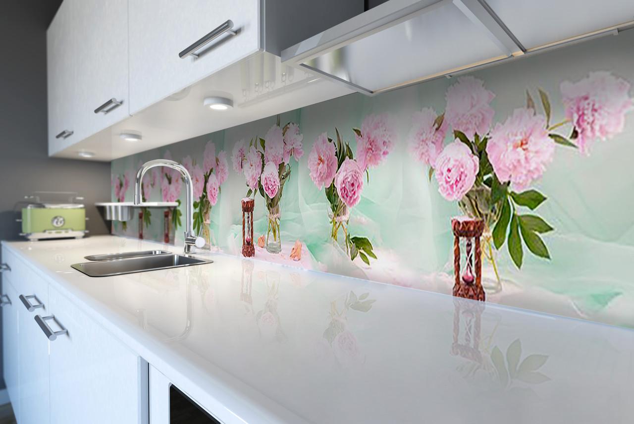 Виниловый кухонный фартук Пышные Розовые Пионы (декоративная пленка наклейка скинали ПВХ) цветы букеты Зеленый 600*2500 мм