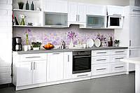 Виниловый кухонный фартук Фиолетовые цветы (декоративная пленка наклейка скинали ПВХ) растительный узор 600*2500 мм, фото 1