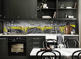 Виниловый кухонный фартук Желтые поля декоративная пленка наклейка скинали ПВХ цветы природа Серый 600*2500 мм