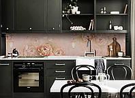 Виниловый кухонный фартук Музыка Цветов (декоративная пленка наклейка скинали ПВХ) Пионы акварель Розовые 600*2500 мм, фото 1