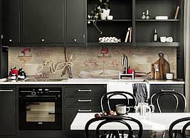 Вініловий кухонний фартух Фарфор декоративна плівка наклейка скіналі ПВХ кераміка абстракція Бежевий 600*2500