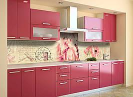 Виниловый кухонный фартук Нежные Герберы виниловая наклейка скинали ПВХ розовые цветы винтаж Бежевый 600*2500