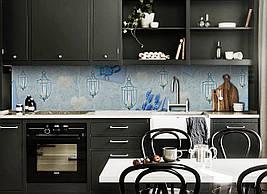 Вініловий кухонний фартух Ліхтарі декоративна плівка наклейка скіналі ПВХ Абстракція квіти Блакитний 600*2500