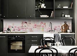 Вініловий кухонний фартух Рожевий Ажур декоративна плівка наклейка скіналі ПВХ квіти солодощі Абстракція