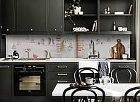 Виниловый кухонный фартук Старинные колокольчики (виниловая наклейка скинали ПВХ) под кирпич Прованс Серый 600*2500 мм, фото 1