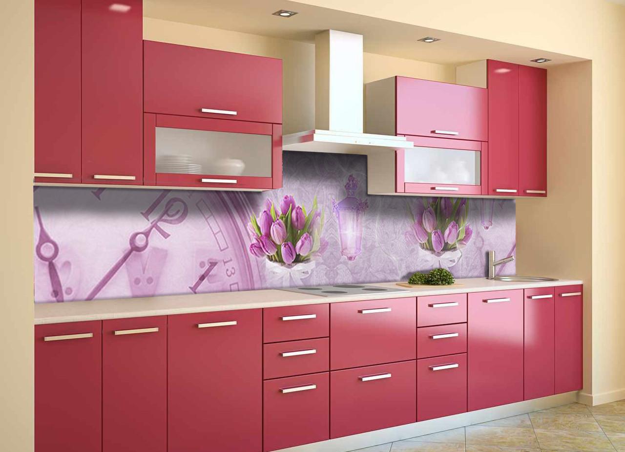 Виниловый кухонный фартук Время Тюльпанов (декоративная пленка наклейка скинали ПВХ) цветы часы Розовый 600*2500 мм