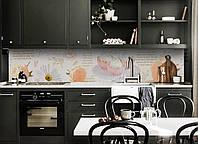 Виниловый кухонный фартук Цветы и сладости (декоративная пленка наклейка скинали ПВХ) ромашки розы Розовый 600*2500 мм, фото 1