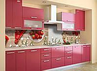 Виниловый кухонный фартук Клубничный пирог (декоративная пленка наклейка скинали ПВХ) красные ягоды еда Бежевый 600*2500 мм, фото 1