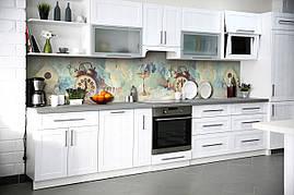 Вініловий кухонний фартух Гортензії декоративна плівка наклейка скіналі ПВХ квіти вантажу годинник Блакитний