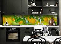 Виниловый кухонный фартук Лимоны (декоративная пленка наклейка скинали ПВХ) цитрусы фрукты Желтый 600*2500 мм, фото 1