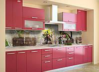 Виниловый кухонный фартук Необычные цветы (декоративная пленка наклейка скинали ПВХ) чемодан башмаки Коричневый 600*2500 мм, фото 1