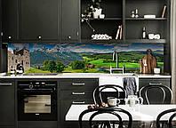 Виниловый кухонный фартук Долина возле Замка (декоративная пленка наклейка скинали ПВХ) трава горы Зеленый 600*2500 мм, фото 1