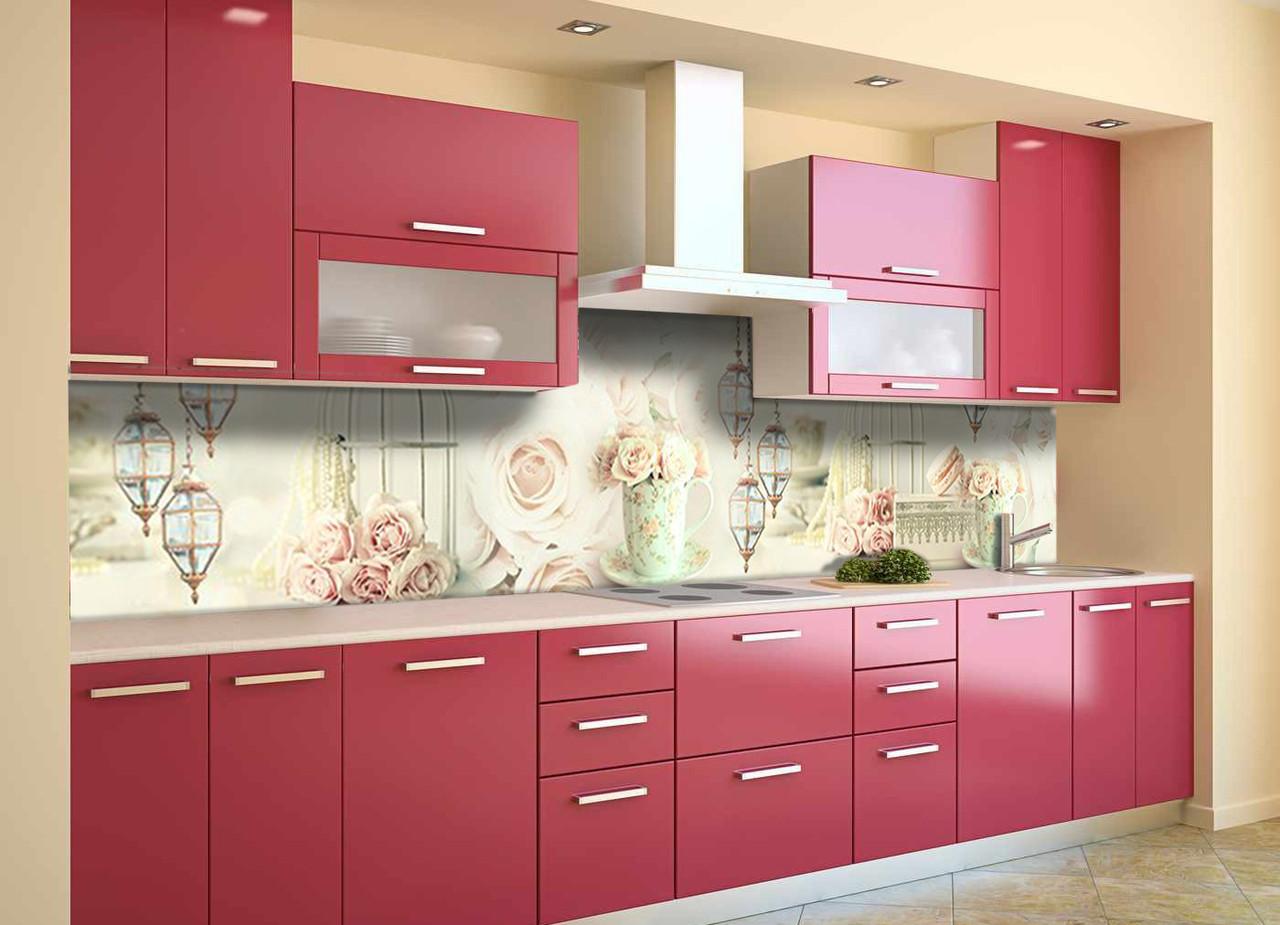 Виниловый кухонный фартук Фонари и Розы (декоративная пленка наклейка скинали ПВХ) цветы Абстракция Розовый 600*2500 мм