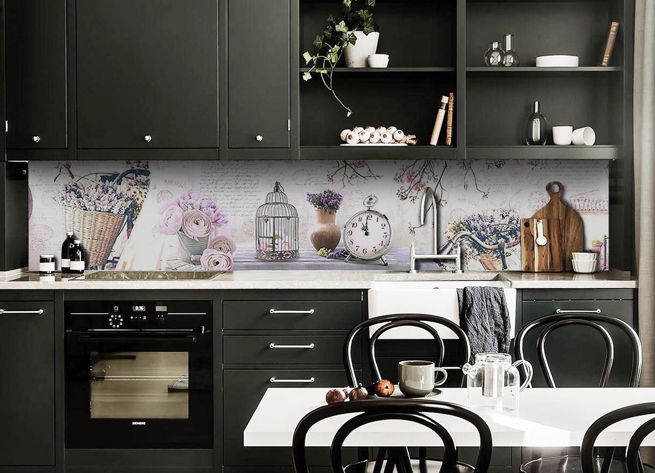 Виниловый кухонный фартук Натюрморт Прованс (декоративная пленка наклейка скинали ПВХ) лаванда часы Серый 600*2500 мм