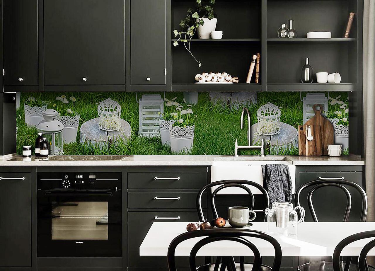 Виниловый кухонный фартук Королевский сад (декоративная пленка наклейка скинали ПВХ) цветы трава Зеленый 600*2500 мм