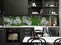 Виниловый кухонный фартук Королевский сад (декоративная пленка наклейка скинали ПВХ) цветы трава Зеленый 600*2500 мм, фото 1