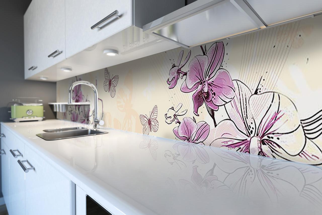 Виниловый кухонный фартук Нарисованные Орхидеи (декоративная пленка наклейка скинали ПВХ) цветы бабочки Бежевый 600*2500 мм