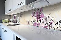 Виниловый кухонный фартук Нарисованные Орхидеи (декоративная пленка наклейка скинали ПВХ) цветы бабочки Бежевый 600*2500 мм, фото 1
