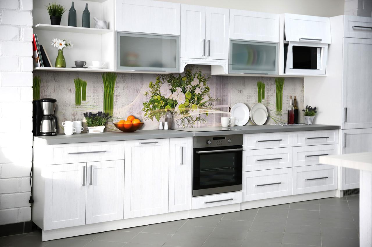 Виниловый кухонный фартук Стебли (декоративная пленка наклейка скинали ПВХ) белые цветы букет Зеленый 600*2500 мм