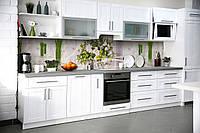 Виниловый кухонный фартук Стебли (декоративная пленка наклейка скинали ПВХ) белые цветы букет Зеленый 600*2500 мм, фото 1