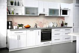 Вініловий кухонний фартух Невагомі Лілії декоративна плівка наклейка скіналі ПВХ квіти Рожевий 600*2500 мм