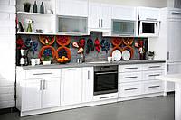 Виниловый кухонный фартук Лесные ягоды (виниловая наклейка скинали ПВХ) натюрморт клубника черника Серый 600*2500 мм, фото 1