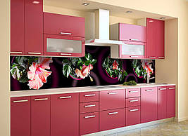 Вініловий кухонний фартух Гібіскус декоративна плівка наклейка скіналі рожеві квіти в горщиках Коричневий